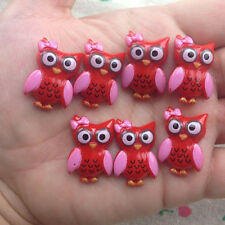 10pcs Owl Flatback Resin Cabochon Scrapbooking for craft.red  @