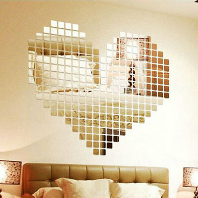 100pcs 2x2cm Silver Acrylic Mural Wall Sticker Mirror Effect Sofa Room Decor