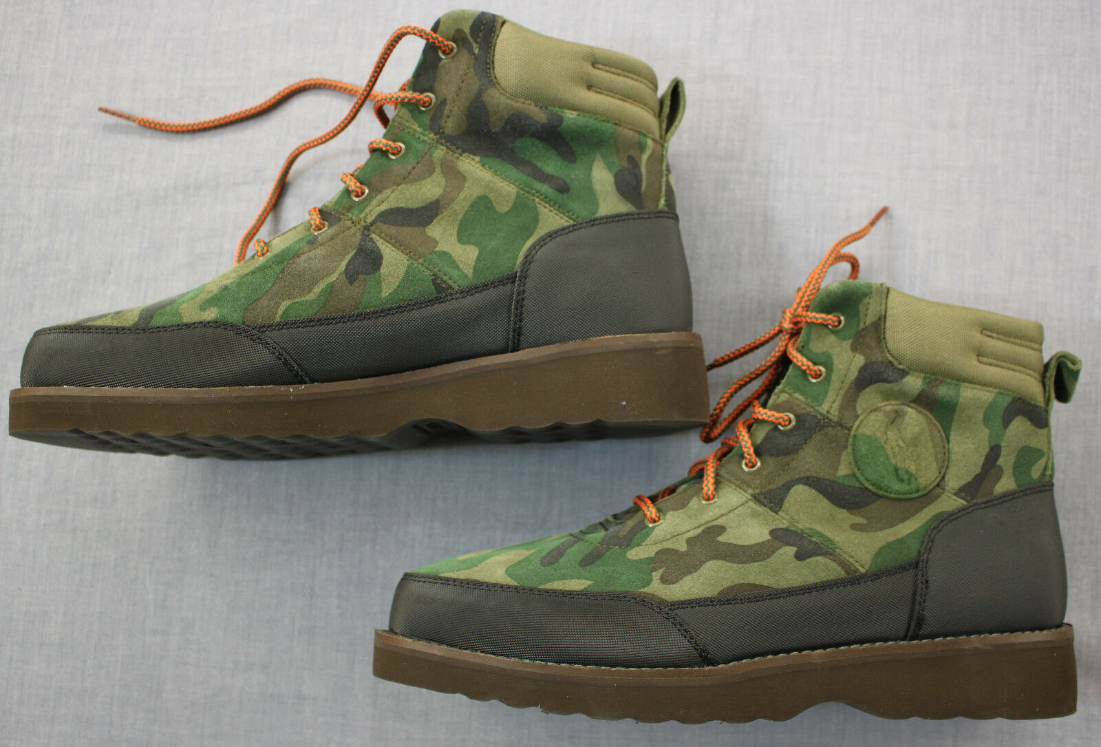 RALPH LAUREN Mens Bearsted Camo Suede Leather Winter Ankle Work Boots  NEW  12