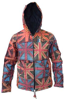 Cotton Fleece Lined Union Jack Pixie Long Hood Patchwork Hippie Bohemian Jacket