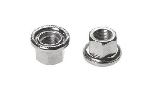 2 pcs. Flanged Silver Hub Axle Nut HBT30 M9//M10 with Movable Flange 9mm//10mm