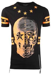 Cipo-amp-Baxx-Camiseta-Hombre-Cremallera-Calavera-Cuello-Redondo-Manga-Corta-ct272