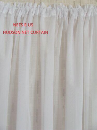 """vendu sur le Rouleau £ 3.50 Par Mètre Hudson Blanc Filet Rideau Drop 40/"""" 101 CM"""