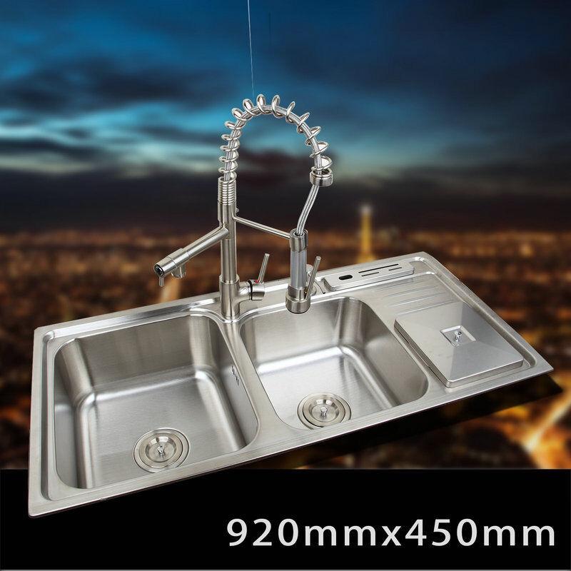 K de cuisine en acier inoxydable évier récipient Set Avec robinet double Sinks Kitchen Sink