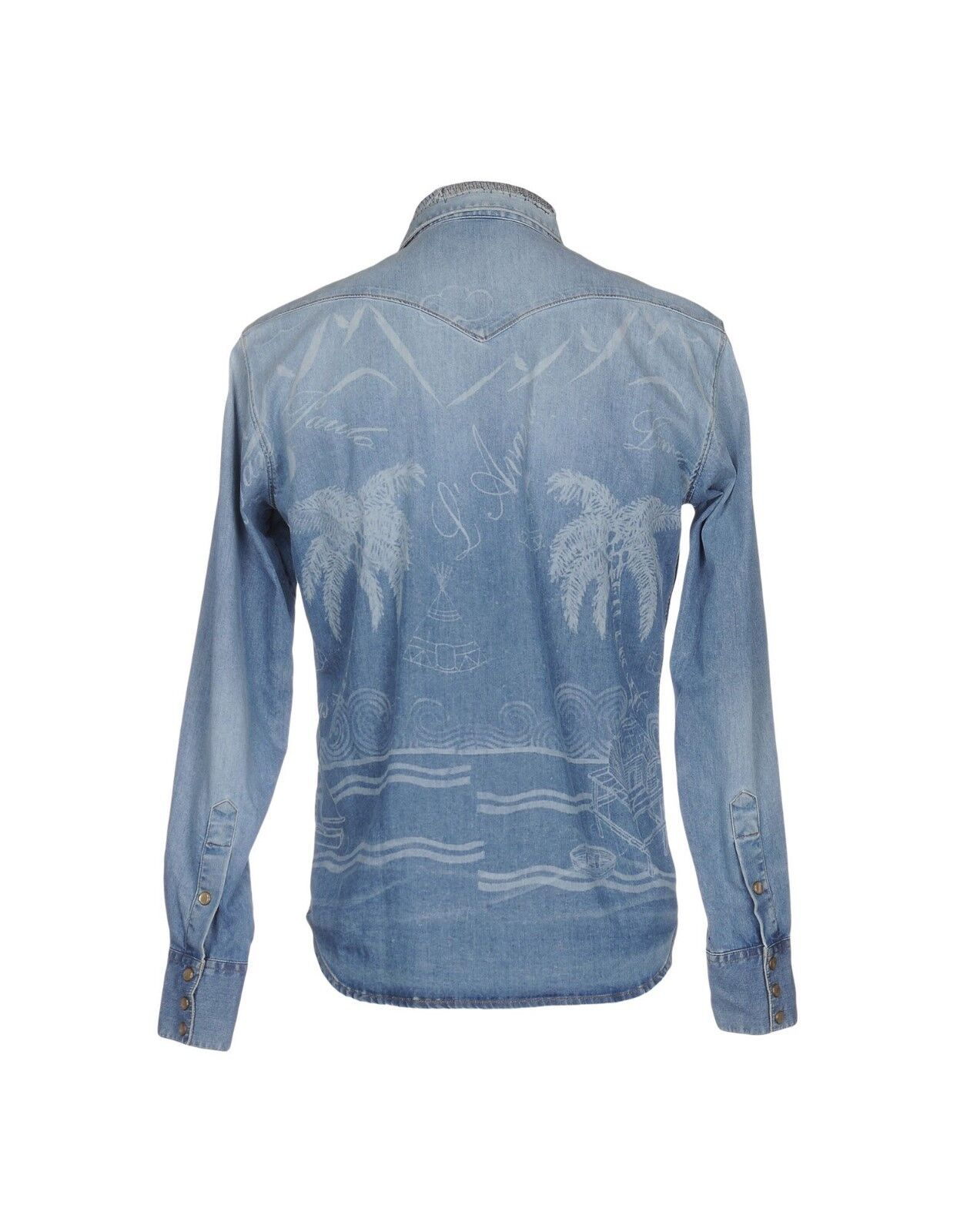 (+) PEOPLE DENIM JEANS SHIRT CAMISA VAQUERA Dimensione 52 52 52 TROPICAL MADE IN ITALY 1c2b06