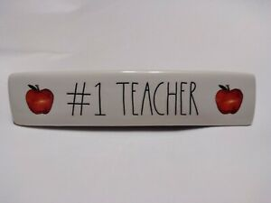 Rae-Dunn-Ceramic-1-TEACHER-Desk-Plaque-Teacher-Appreciation-Ivory-Black-Red