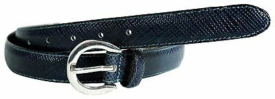 New Womens 25mm Wide Blue Reptile Skin Silver Oval Buckle Genuine Leather Belts