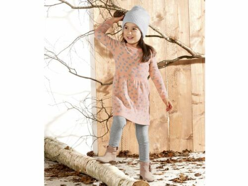 Girls/' Knitted Jumper Dress Pink Gray Heart Tunic Sweater 12 24m 2 3 4 5 6 7 8 Y