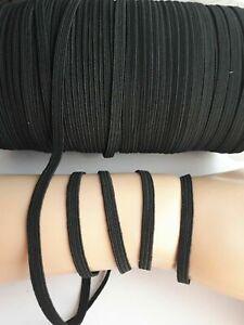 Black-Elastic-Ribbon-Cord-Stretch-Flat-Waist-Band-Woven-Sewing-5-mm-UK