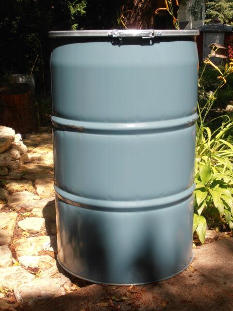 STEEL BARREL 55 GALLON- FOOD GRADE Open Top Plastic Cover/Gasktet & Ring Clamp