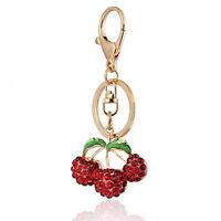 Handbag Buckle Charms Accessories Crystal Red Cherries Keyrings Key Chains HK39