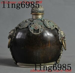 Chinese Ox horn inlay bronze Cloisonne Foo dog lion beast statue snuff bottle