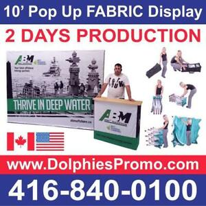 Trade Show 10 Pop Up Tension Fabric Display Backdrop Booth + CUSTOM Dye-Sublimation Graphics by www.DolphiesPromo.com Canada Preview