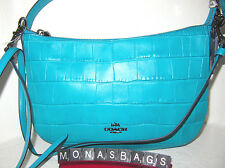 New Coach Chelsea 37733 Crossbody Bag Turquoise Embossed Croco Leather NWT $275