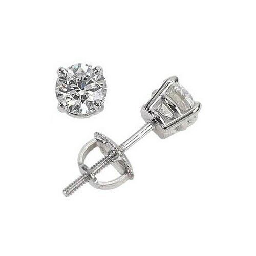 2.15ct ROUND CUT diamond stud earrings 14K WHITE gold G-H COLOR VS1