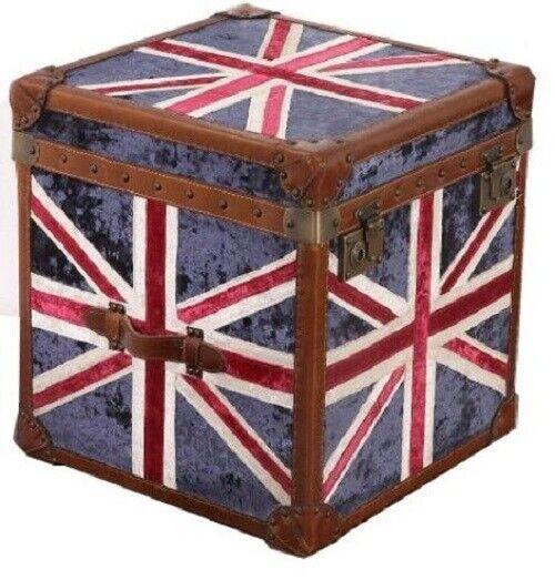 Union Jack tronco de terciopelo en Diseño Antiguo Vintage con tapicería de cuero