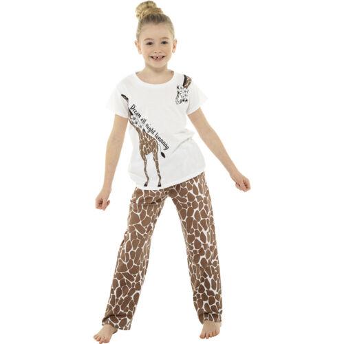 Ladies /& Girls Matching Giraffe Cotton T-Shirt Long Pyjama Set Lounge Sleepwear