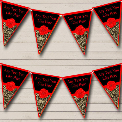 Leopard Print Red Bow Personalized Birthday Party Bunting Flag Banner
