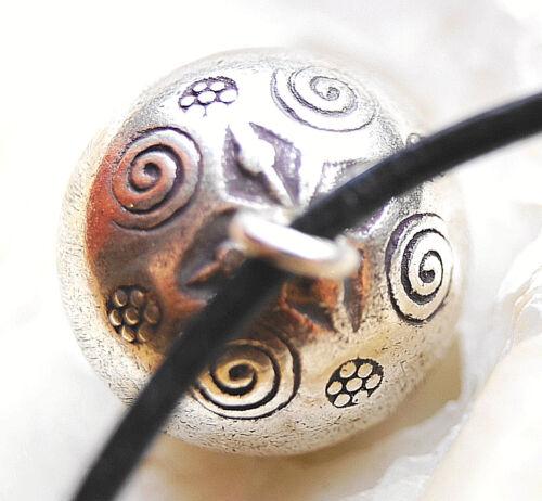 980er Silber Anhänger Kugel Ø 2 cm Floral Muster Glocke Glöckchen Klangkugel