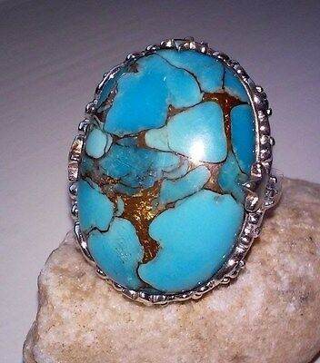 JTV SS Metal Matrix Turquoise With .25CTW Treated London Bue Topaz Ring - Size 7