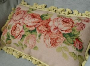 Aubusson-Floral-Rose-Needlepoint-Pillow-Sham-Handmade-Tassel-Wool-New