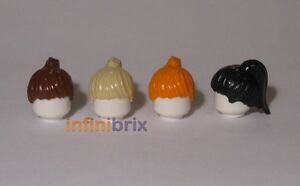 4x lego pièces cheveux queue de cheval femme (marron, tan, orange, noir) nouveau 6093