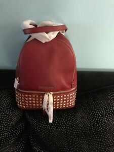 456907972bde Image is loading Michael-Kors-Rhea-Zip-Small-Leather-Backpack-cherry