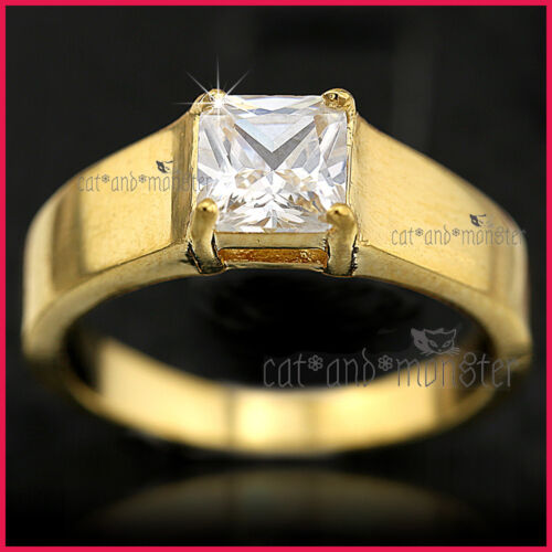 9K GOLD GF SOLID 2CT SQUARE SOLITAIRE LAB DIAMOND MENS WOMENS WEDDING BAND RING