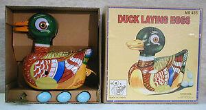 Vintage-Schylling-Tin-Wind-Up-Duck-Lays-Eggs-NIB-MS455-SKU-5131783-NOS