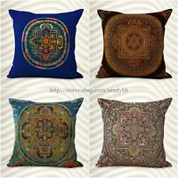 Set Of 4 Cushion Cover Tibetan Buddhism Mandala Pillow Covers For Throw Pillows