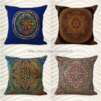 Set Of 4 Cushion Cover Tibetan Buddhism Mandala Pillow Covers For Throw Pillows