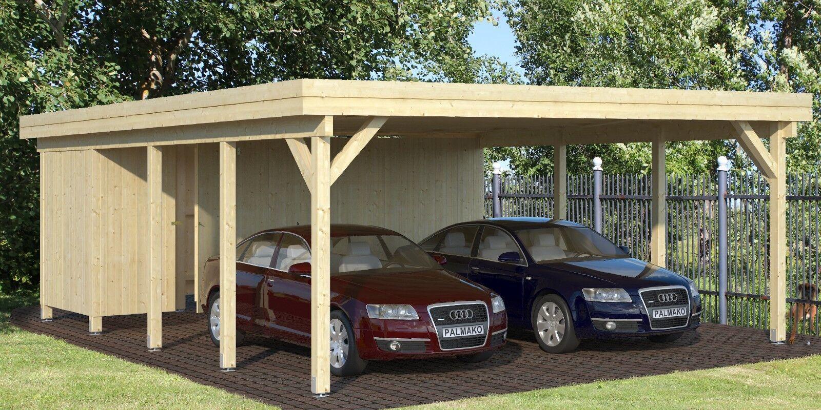 Carport Karl 4   Richard 2 Doppelcarport 600x762cm 12x12cm Trägerpfosten Garage