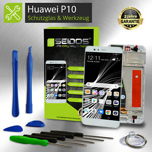 LCD-Display-fuer-Original-Huawei-P10-Komplettes-Touchscreen-Weiss-Rahmen-NEU