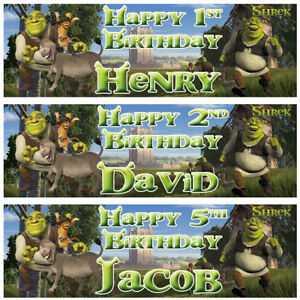 2-Personalized-Birthday-Banner-Shrek-Donkey-Cat-in-Boot-Children-Party-Poster