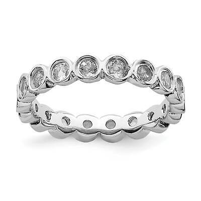 Sterling Silver Eternity Ring Solid Polished Rhodium 3.5 mm 3.5 mm Stackable Expressions Created Ruby Ring
