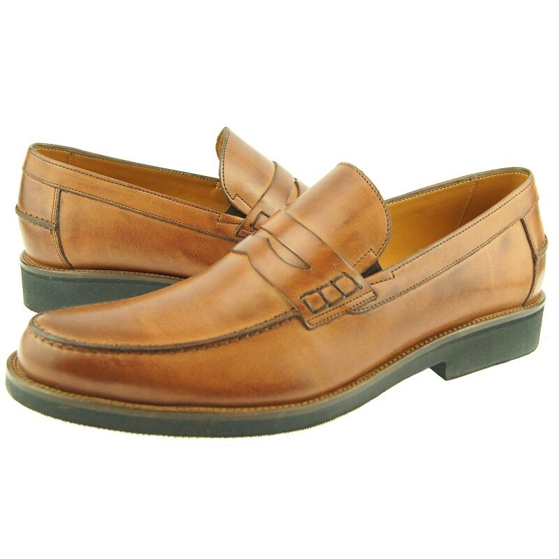 Charles Stone Penny Loafer, Men's Dress Casual Slip-on Leather shoes, Cognac