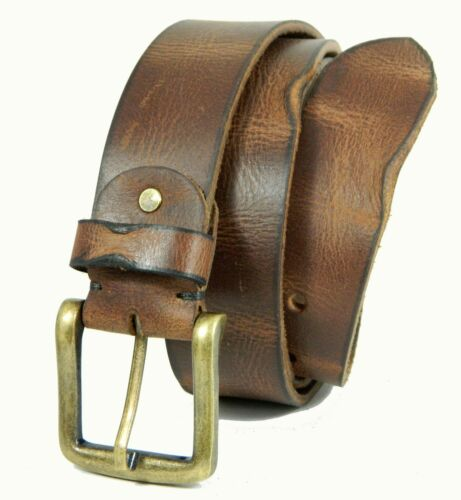 Men/'s Real grain Leather Belt Crunch wide heavy Milled strap for jeans D1