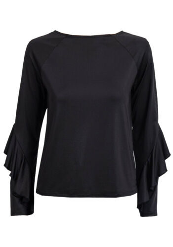 EX FAMOUS STORES  SLEEVE SATIN SHINE RUFFLE SLEEVE TOP SILVER BLACK M/&S M S