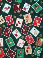 Christmas Fabric Remnant  50cm x 40cm  100% Cotton Christmas Stamps