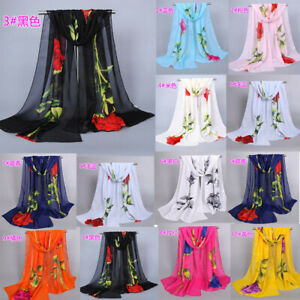 New-Fashion-Women-Ladies-Roses-Chiffon-Floral-Scarf-Soft-Wrap-Long-Shawl-Scarf