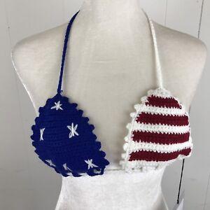 Womens-Knit-Bra-Top-American-Flag-Rehab-Festival-Spring-Break-Small-Stars-Stripe