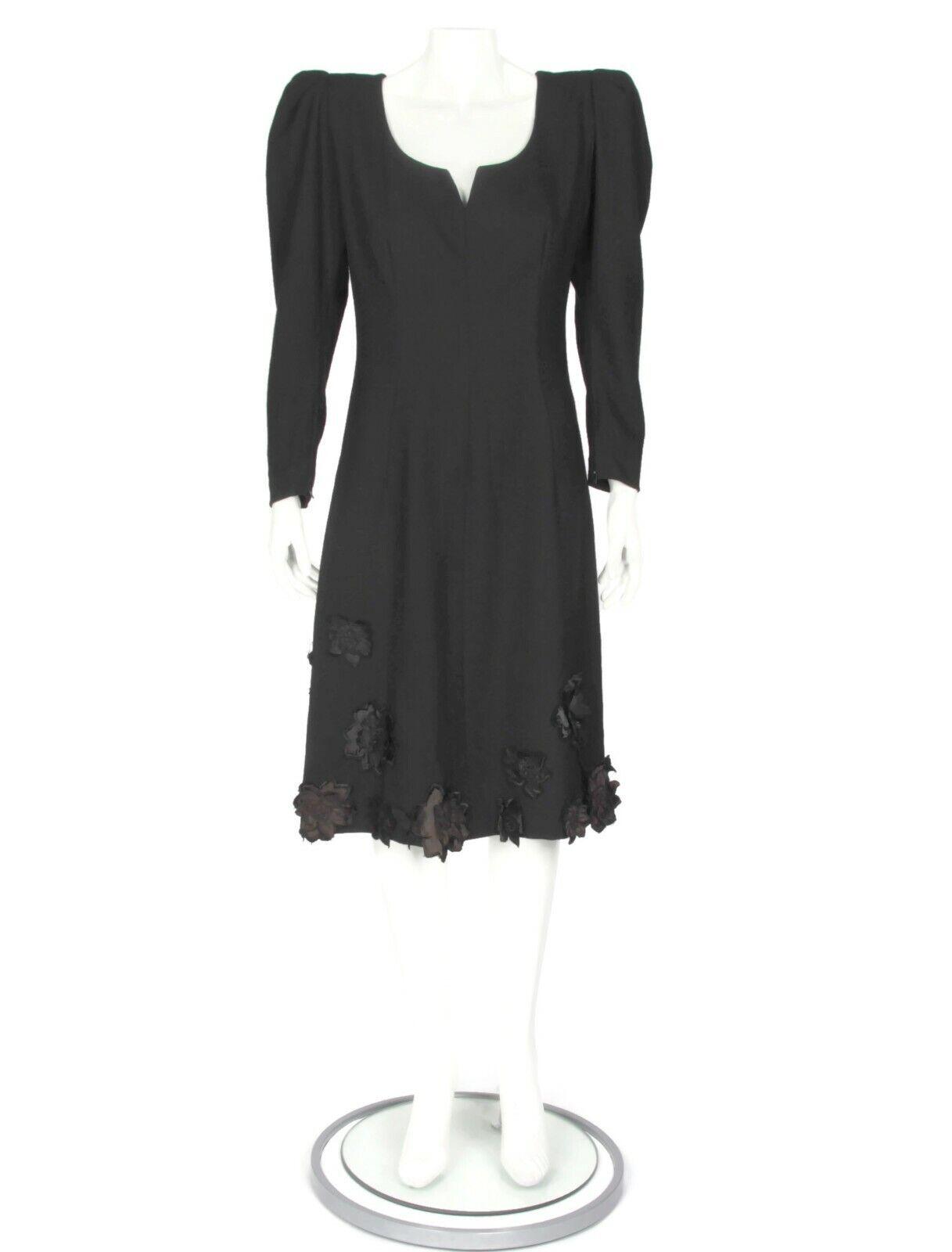 Pauline Trigere Vintage 80s Puffy Shoulder Black … - image 1