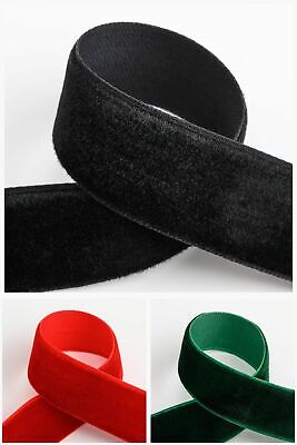 Red 9mm Velvet Elastic Ribbon Flat Stretch Velvet Elasticated 1//3//5//10//25m