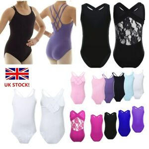 UK-Girls-Ballet-Dance-Gymnastics-Leotard-Straps-Sleeveless-Dancewear-Bodysuit