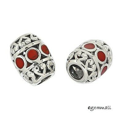 1PC Antique Sterling Silver Enamel Coral Red Printed Charm Spacer Bead #94268