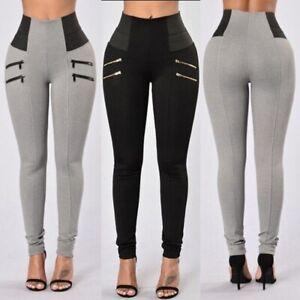 Womens-High-Waist-Slim-Stretch-Long-Pants-Leggings-Casual-Skinny-Pencil-Trousers
