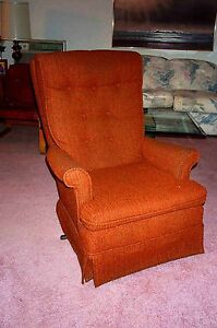 Details About Rocking Chair Cushioned Kroehler 1970 S Burnt Orange Vintage Furniture