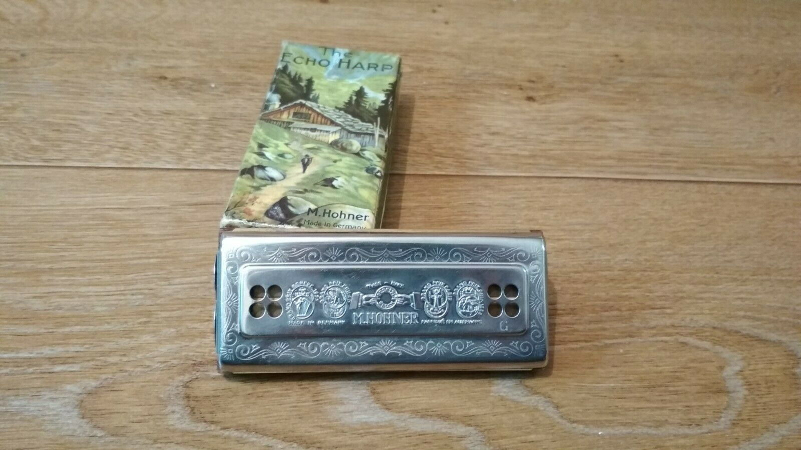 Old double-sided harmonica Echo Harp Hohner Germany