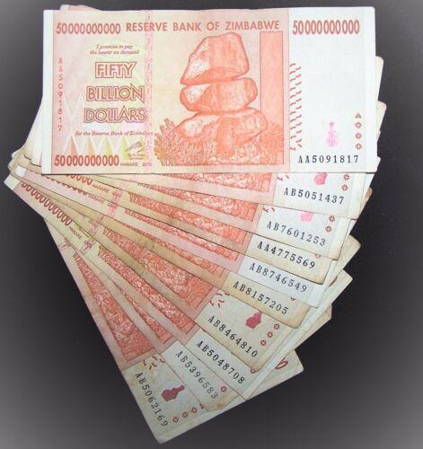 10 x Zimbabwe 50 Billion Dollar banknotes-pape<wbr/>r money currency-2008/<wbr/>AA or AB