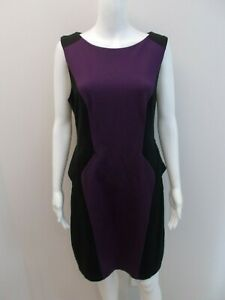 CUE-IN-THE-CITY-PURPLE-BLACK-EXPOSED-ZIP-DRESS-SIZE-14-T1672